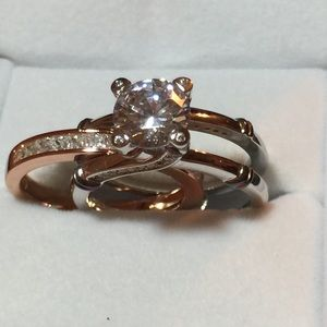 Rose & Silver CZ Wedding Rings, size 9